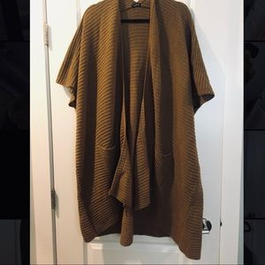 Long open front Brown cardigan